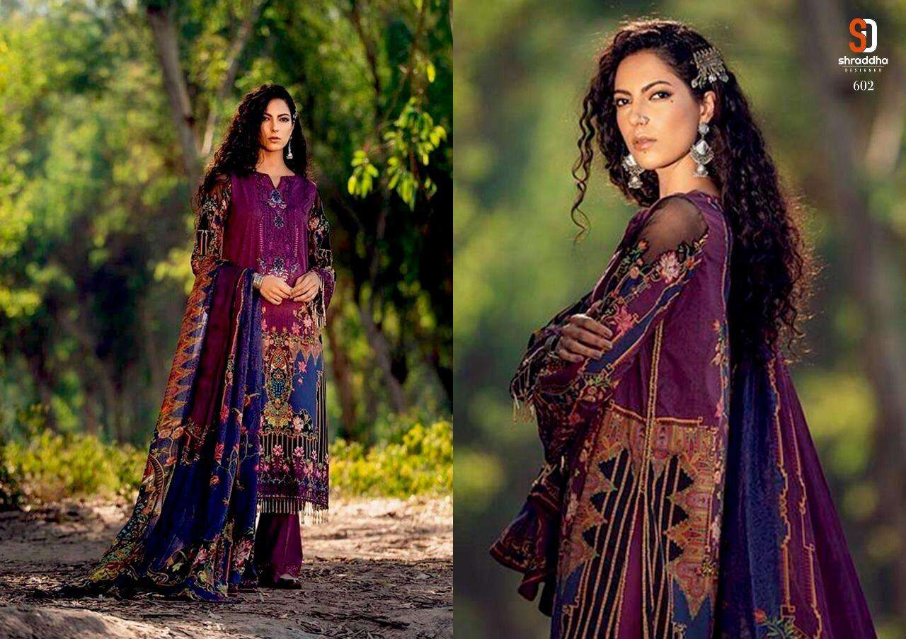 SHARADDHA DESIGNER VERONA DESIGNER LAWN COTTON PRINT WITH EMBROIDERY WORK SUITS IN SINGLES