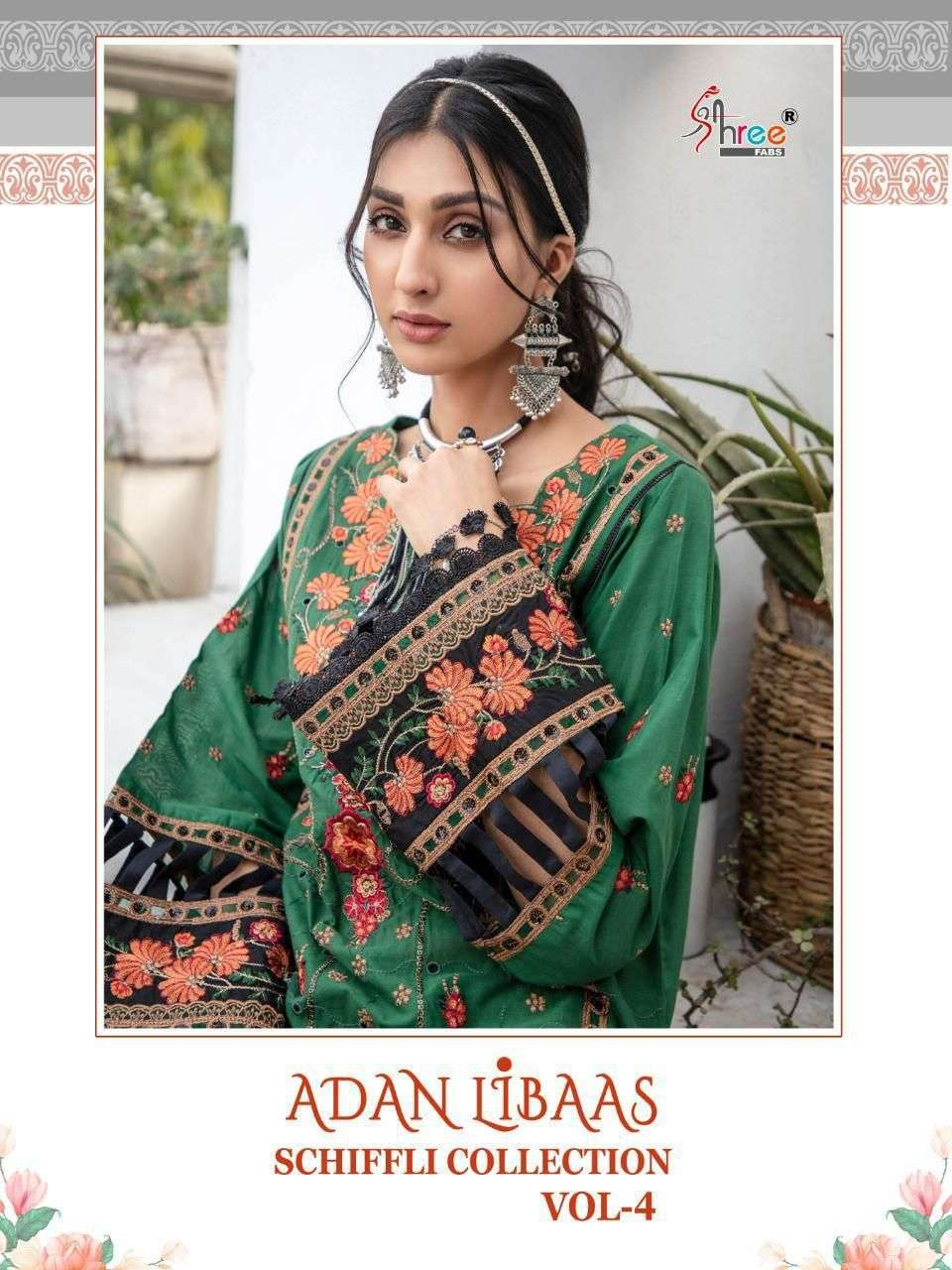 SHREE FAB ADNAN LIBAAS SCHIFFLI COLLECTION VOL 4 DESIGNER COTTON WITH EXCLUSIVE EMBROIDERY WORK PARTYWEAR PAKISTANI REPLICA SUITS WHOLESALE