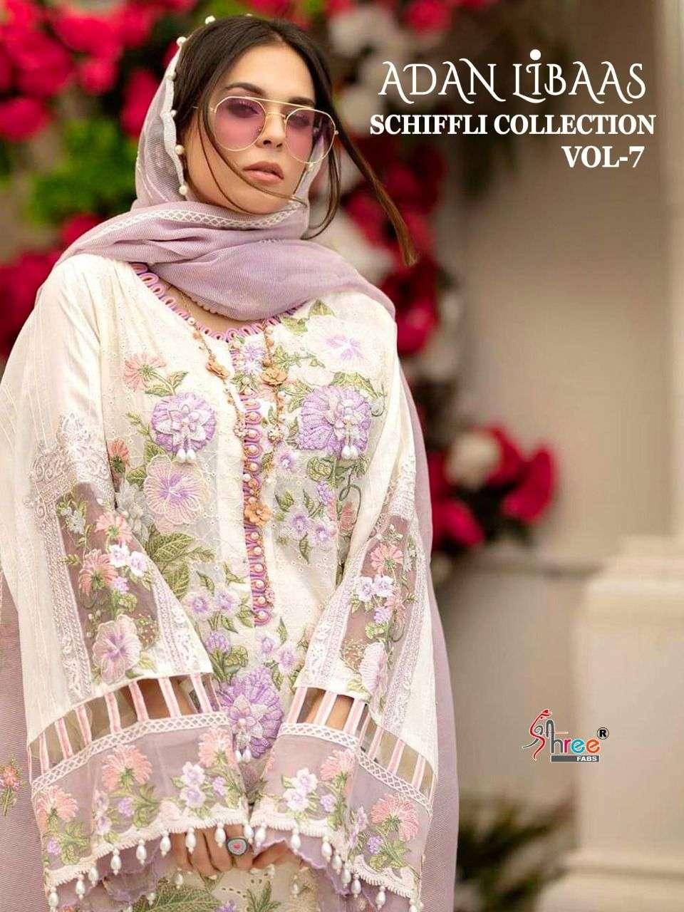 SHREE FAB ADNAN LIBAS SCHIFFLI COLLECTION VOL 7 DESIGNER COTTON WITH SELF EMBROIDERY WORK SUITS WHOLESALE