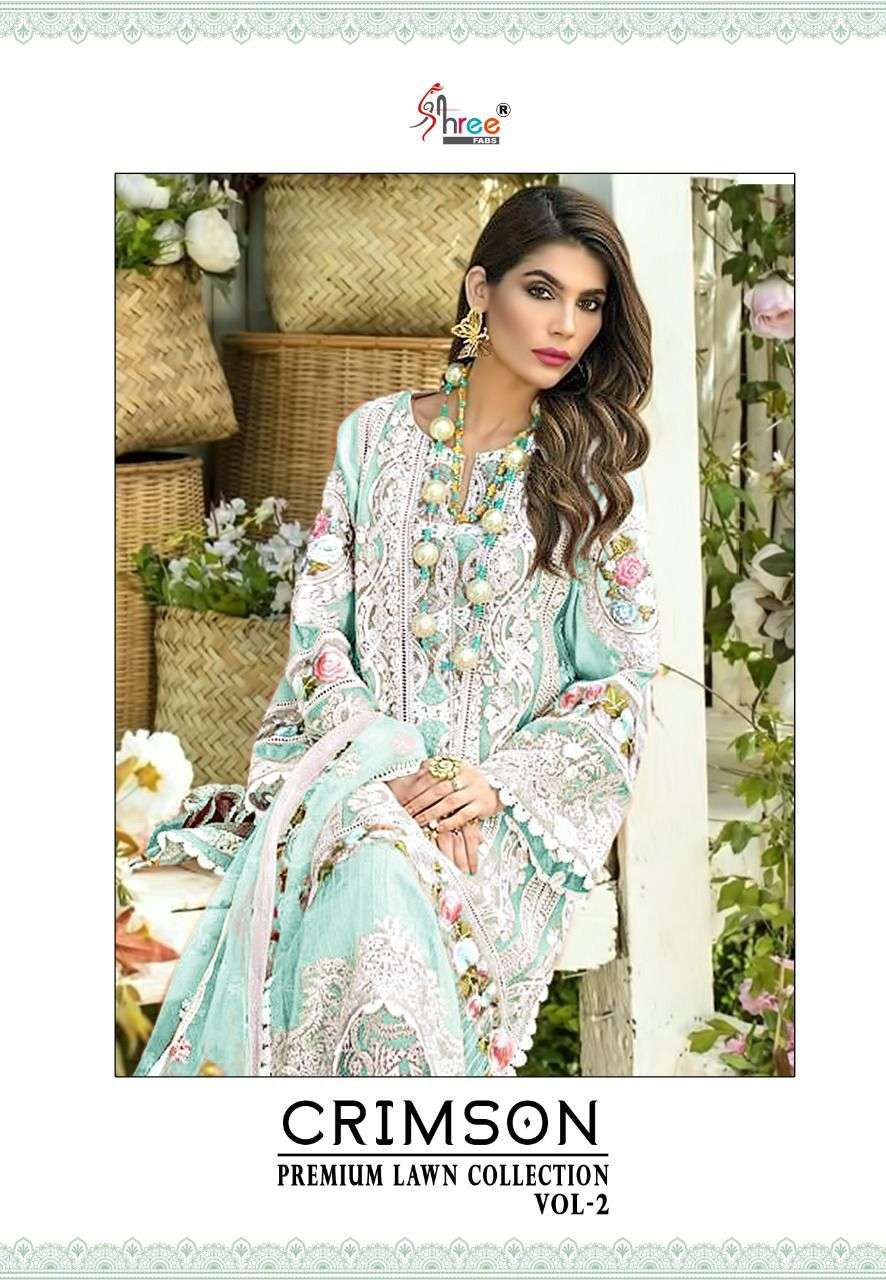 SHREE FAB CRIMSON PREMIUM LAWN COLLECTION 2 DESIGNER COTTON PRINTED WITH SELF EMBROIDERY WORK SUITS WHOLESALE