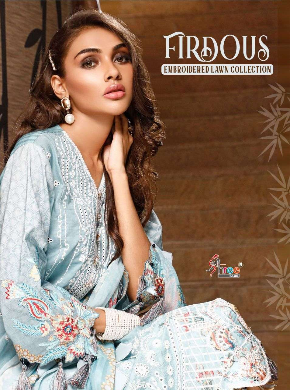 SHREE FAB FIRDOUS EMBROIDERED LAWN COLLECTION DESIGNER COTTON WITH HEAVY SELF AND SCHIFFLI WORK PAKISTANI PATTERN SUITS WHOLESALE