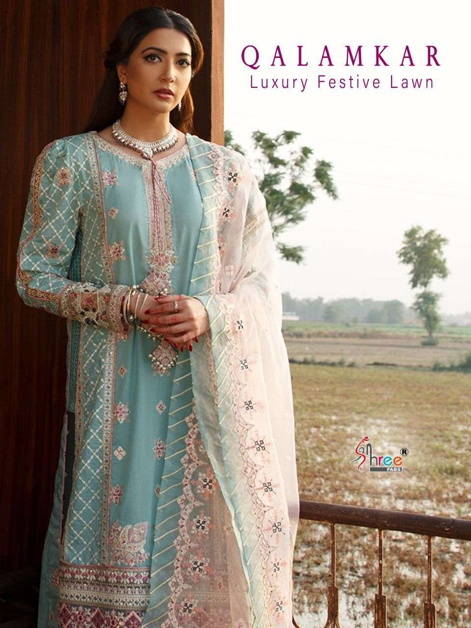 SHREE FAB QALAMKAR LUXURY FESTIVAL LAWN DESIGNER PURE LAWN WITH EXCLUSIVE EMBROIDERY WORK PAKISTANI PATTERN SUITS WHOLESALE