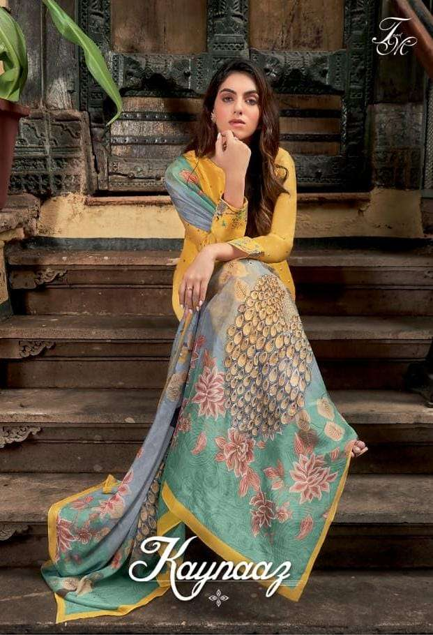 T&M KAYNAAZ DESIGNER RUSSIAN SILK WITH NECK AND SLEEVES DIGITAL PRINTED SUITS WHOLESALE