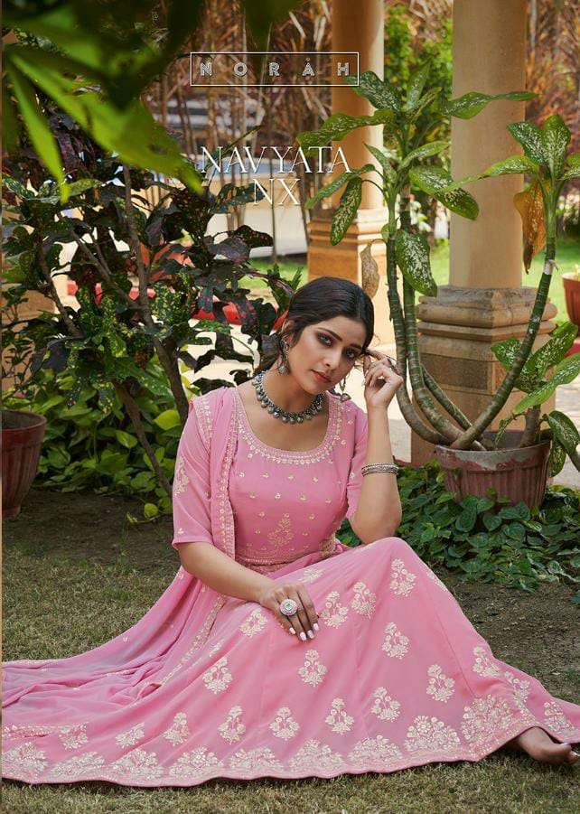 TUNIC HOUSE NAVYATA NX DESIGNER GEORGETTE KALI WITH HEAVY EMBROIDERY WORK READYMADE GOWN WITH BOTTOM AND DUPATTA WHOLESALE