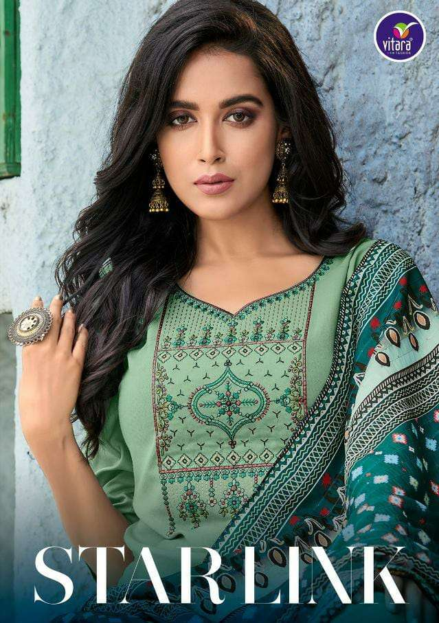 VITARA FASHION STARLINK DESIGNER RAYON WITH EMBROIDERY WORK READYMADE PARTYWEAR SUITS WHOLESALE