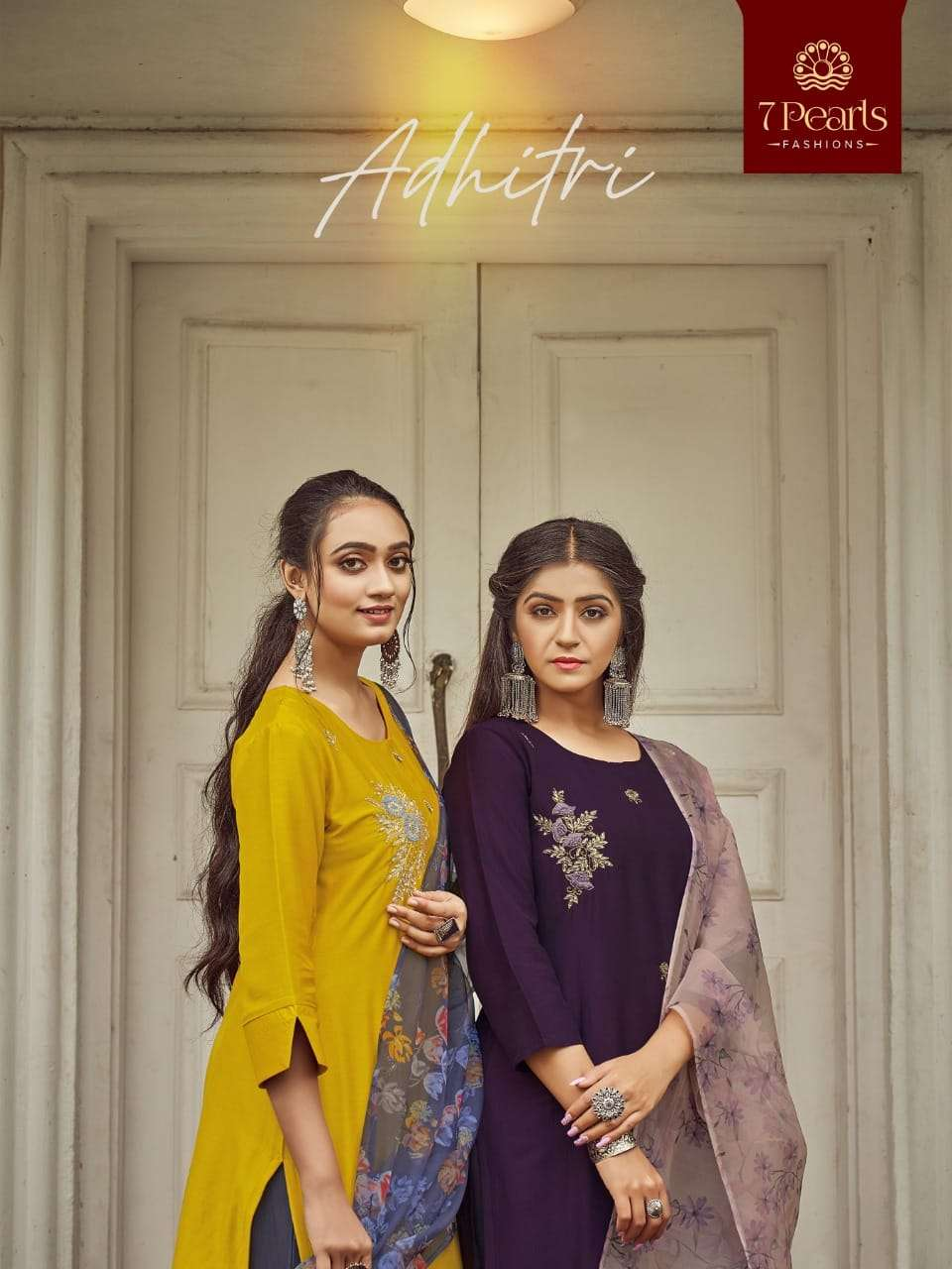 7 PEARLS ADHITRI DESIGNER CHINON SILK WITH HANDWORK READYMADE PARTYWEAR SUITS WHOLESALE