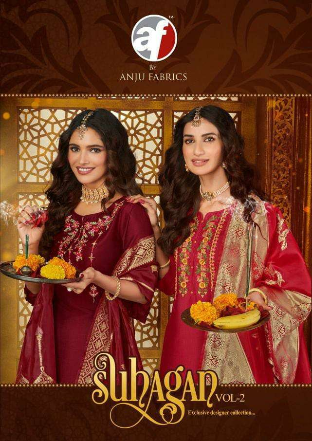 A/F SUHAGAN VOL 2 DESIGNER BEMBERG SILK WITH HEAVY WORK KARWA CHOUTH SPECIAL READYMADE SUITS WHOLESALE