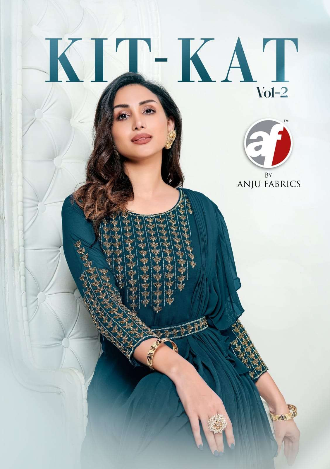 AF KITKAT VOL 2 DESIGNER VISCOSE GEORGETTE AND CHINON HANDWORK READYMADE PARTYWEAR SPECIAL ONE PIECE DRESS WHOLESALE