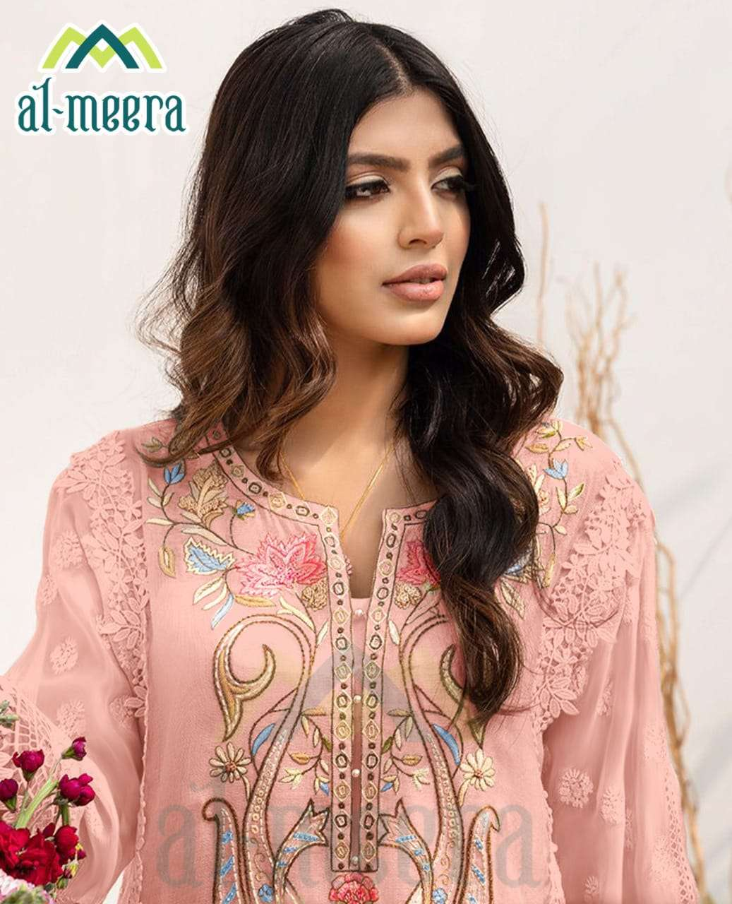 AL MEERA D NO. 1133 DESIGNER FOX GEORGETTE WITH EMBROIDERY WORK KURTI WITH PANT IN SINGLES