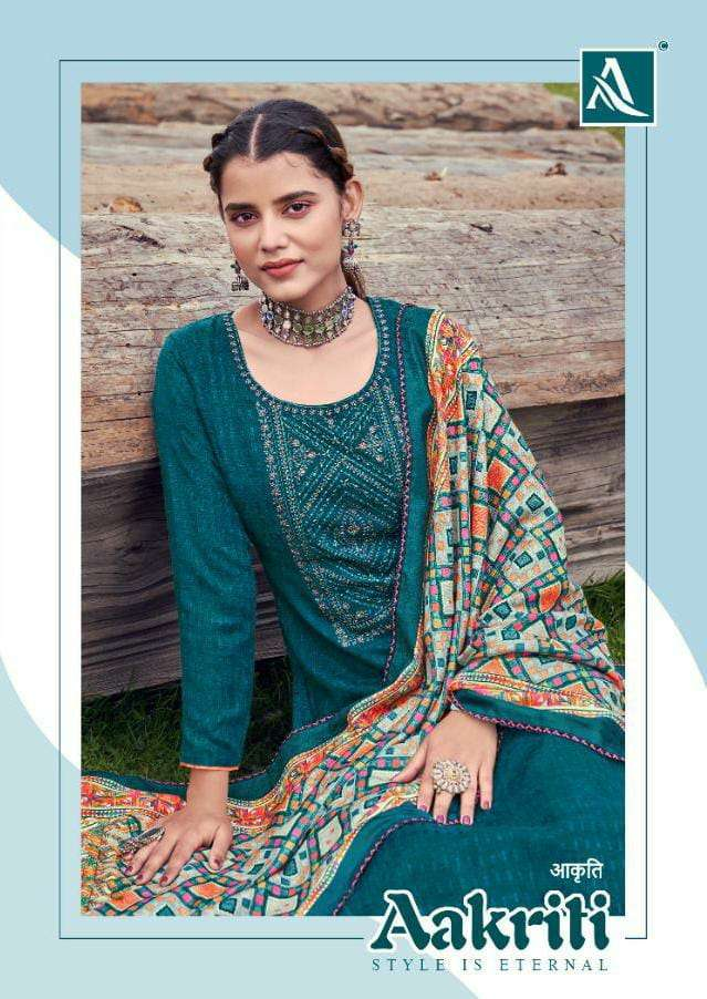 ALOK SUITS AAKRITI DESIGNER WOOL PASHMINA SELF PRINT WITH EMBROIDERY AND SWAROVSKI DIAMOND WORK PARTYWEAR SUITS WHOLESALE