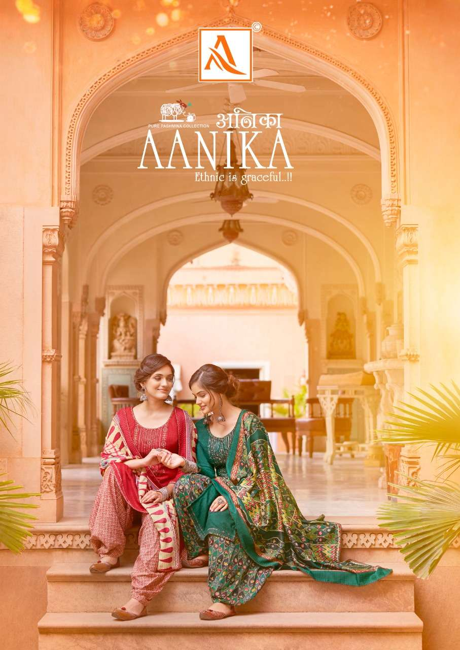 ALOK SUITS AANIKA DESIGNER WOOL PASHMINA WITH EXCLUSIVE EMBROIDERY WORK SUITS WHOLESALE