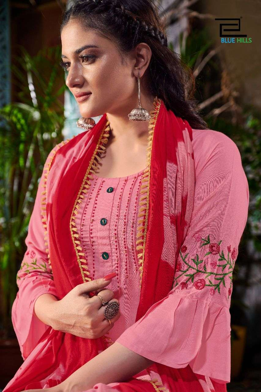 BLUE HILLS SKYLINE VOL 7 DESIGNER RAYON EMBROIDERY WORK WITH COTTON MAL DUPATTA READYMADE SUITS WHOLESALE