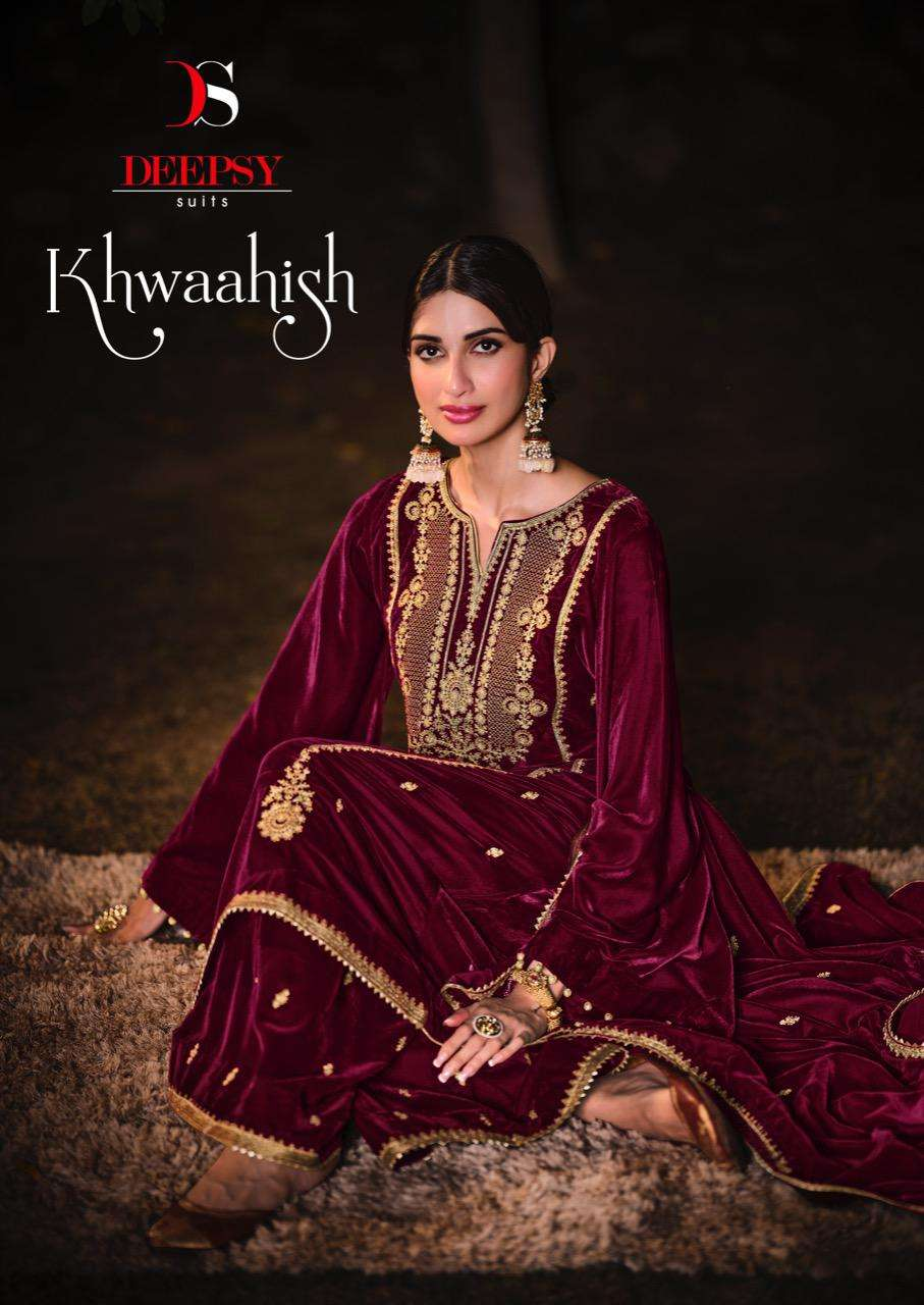 DEEPSY SUITS KHWAAISH DESIGNER VELVET WITH EMBROIDERY WORK PARTYWEAR SUITS WHOLESALE