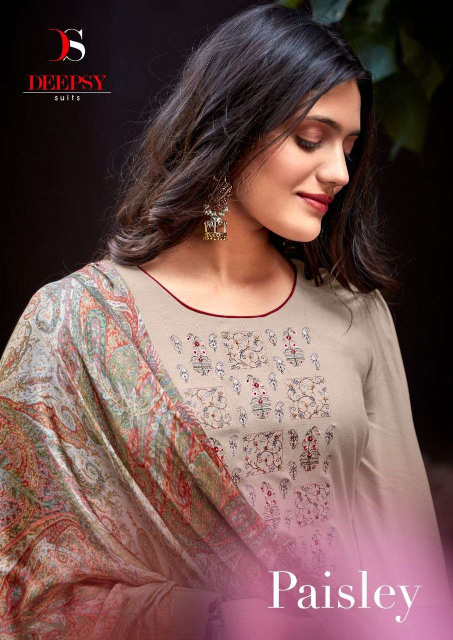DEEPSY SUITS PAISELY DESIGNER VISCOSE PASHMINA WITH EMBROIDERY WORK WINTER WEAR SUITS WHOLESALE