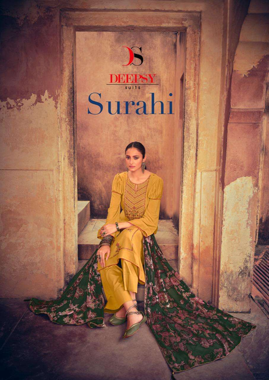 DEEPSY SUITS SURAHI DESIGNER VISCOSE PASHMINA WITH EMBROIDERY WORK WINTER WEAR SUITS WHOLESALE