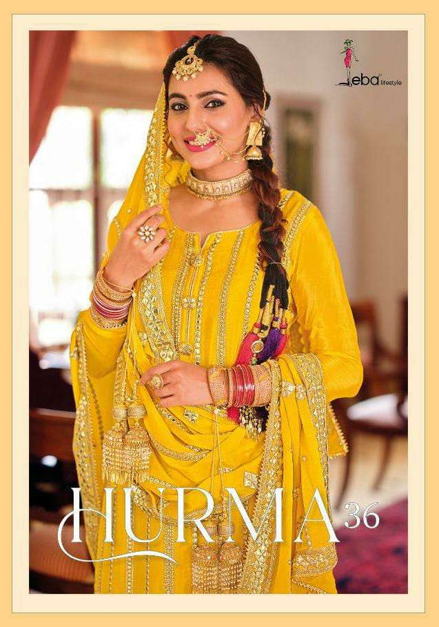 EBA HURMA 36 DESIGNER CHINON WITH EMBROIDERY WORK FESTIVE WEAR HEAVY SUITS WHOLESALE