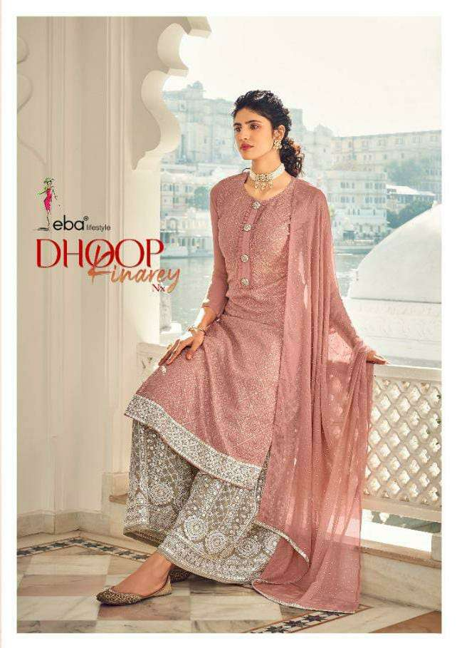 EBA LIFESTYLE DHOOP KINAREY DESIGNER FAUX GEORGETTE WITH EMBROIDERY WORK PARTYWEAR PLAZZO SUITS WHOLESALE