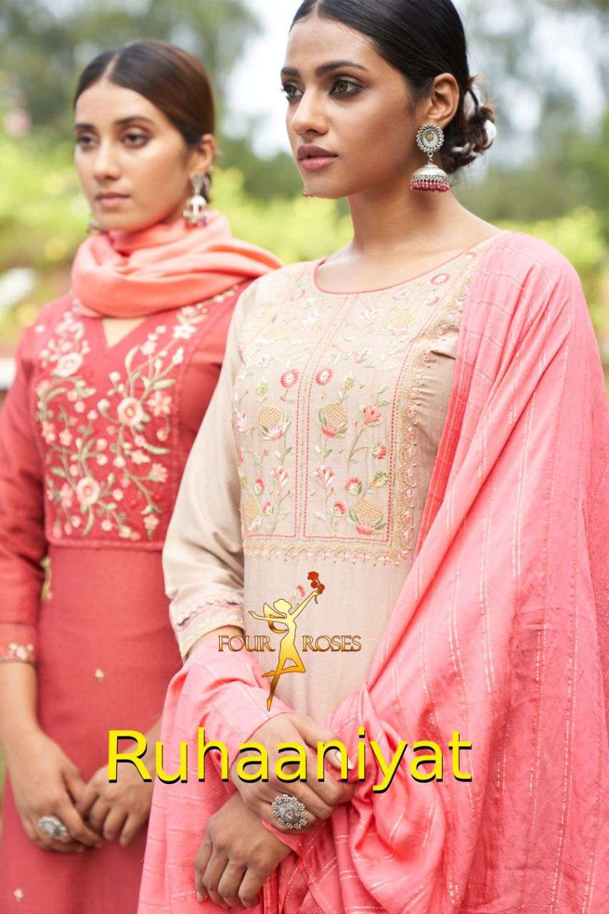 FOUR ROSES RUHANIYAT DESIGNER CHINON SELF DOBBY EMBROIDERY WITH ORGANZA EMBROIDERY WORK SLEEVES READYMADE PARTYWEAR SUITS WHOLESALE