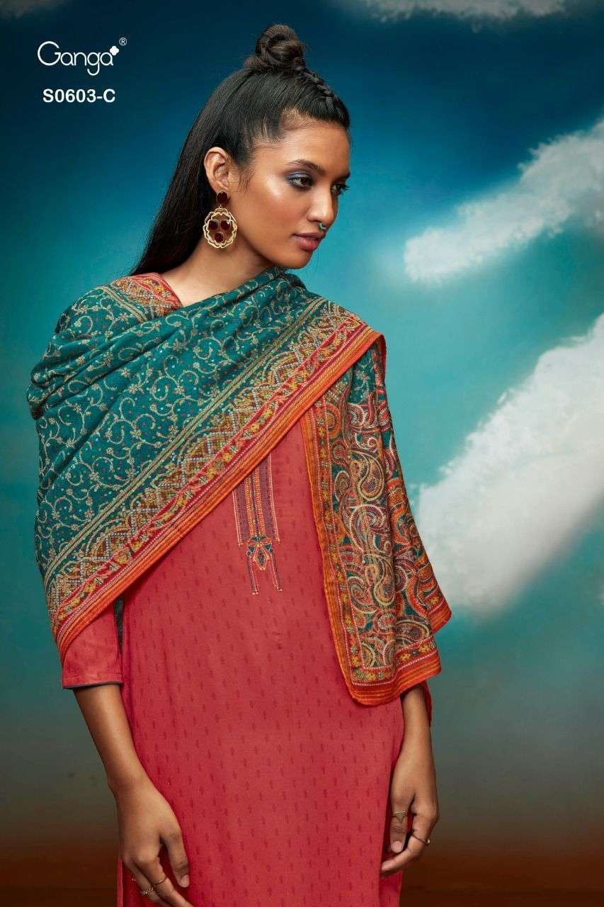 GANGA CHASHNI 603 DESIGNER WOOL DOBBY PRINTED WITH EMBROIDERY WORK SUITS WHOLESALE