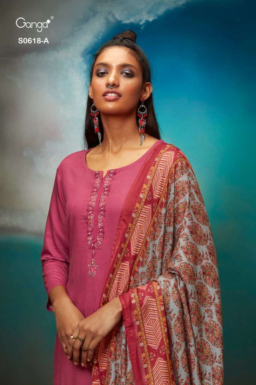 GANGA MYNA 618 DESIGNER WOOL DOBBY PRINTED WITH EMBROIDERY WORK WINTER WEAR SUITS WHOLESALE