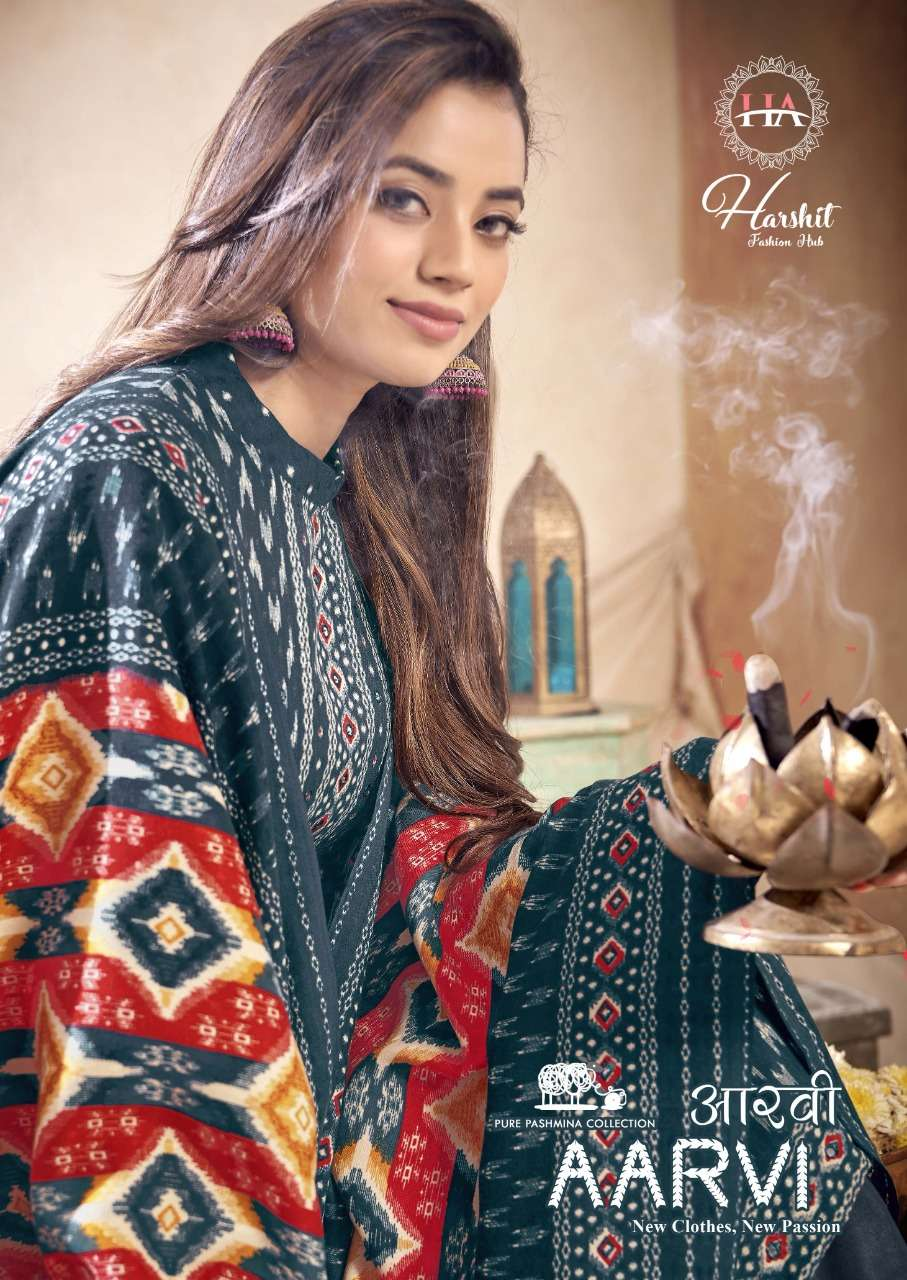 HARSHIT FASHION HUB BY ALOK SUITS AARVI DESIGNER WOOL PASHMINA DIGITAL PRINT WITH MIRROR WORK SUITS WHOLESALE