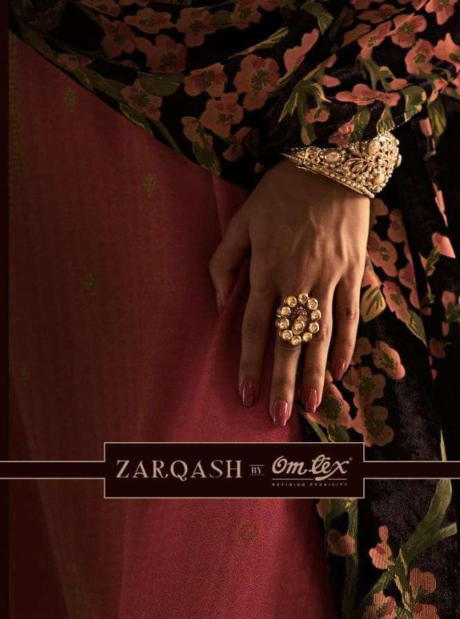 JHANSI BY OMTEX ZARQASH DESIGNER WOVEN JACQURD PASHMINA SILK PRINTED PARTYWEAR READYMADE SUITS WHOLESALE