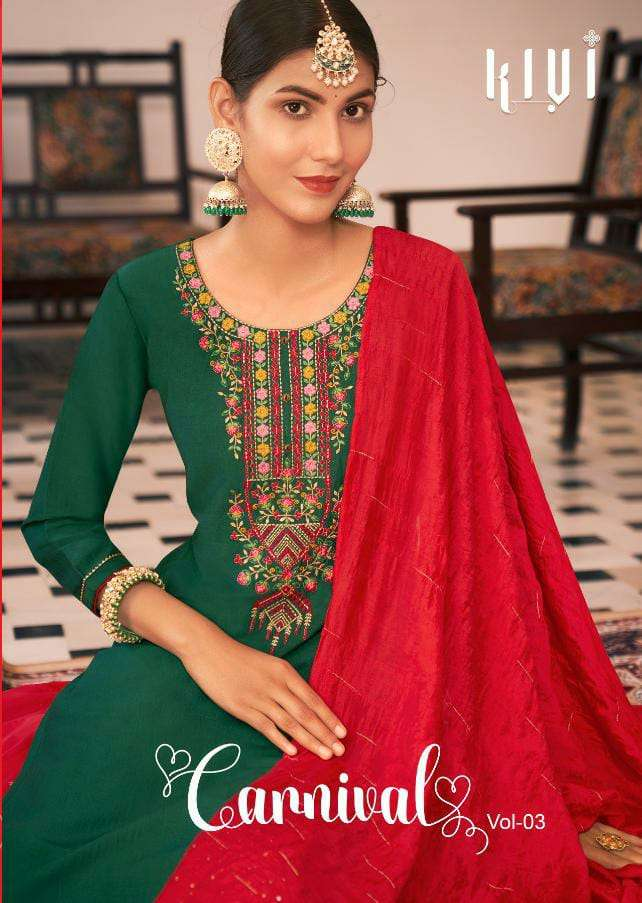 KALAROOP BY KAJREE CARNIVAL VOL 3 DESIGNER LINING SILK WITH NECK WORK AND FANCY LACE READYMADE LEHENGA SUITS WHOLESALE