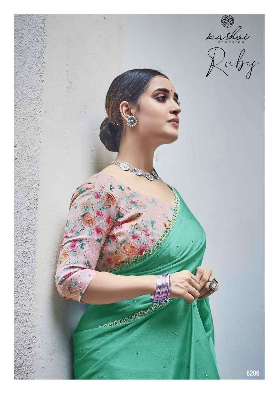 KASHVI CREATION RUBY DESIGNER MOSS CHIFFON WITH FANCY LACE AND SEQUENCE WORK SAREES WHOLESALE
