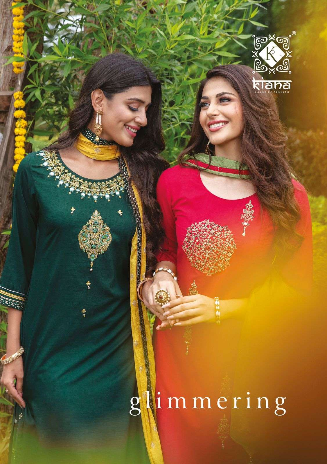 KIANA HOUSE OF FASHION GLIMMERING DESIGNER HEAVY MUSLIN WITH EMBROIDERY WORK READYMADE PARTYWEAR OR FESTIVE WEAR SUITS WHOLESALE