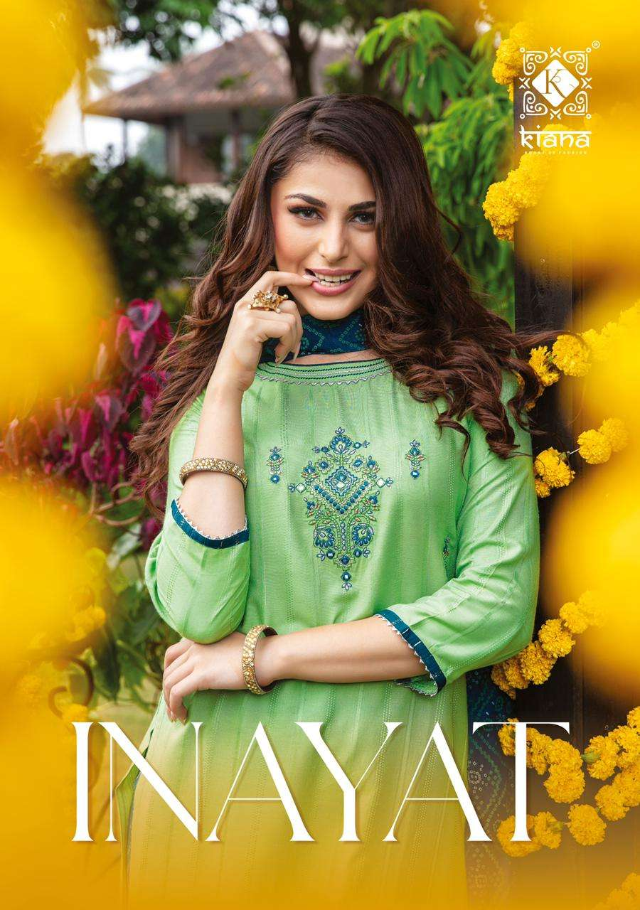 KIANA HOUSE OF FASHION INAYAT DESIGNER VISCOSE LUREX DOBBY WITH MIRROR WORK AND THREAD WORK READYMADE SUITS WHOLESALE
