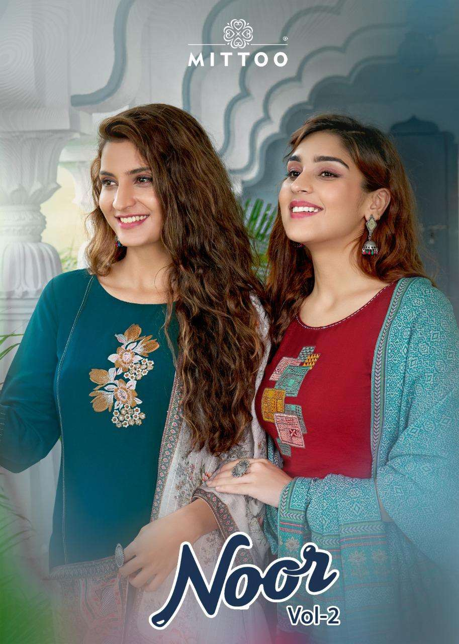 MITTO NOOR VOL 2 DESIGNER NYLON VISCOSE SILK WITH EMBROIDERY WORK AND HANDWORK PARTYWEAR READYMADE SUITS WHOLESALE