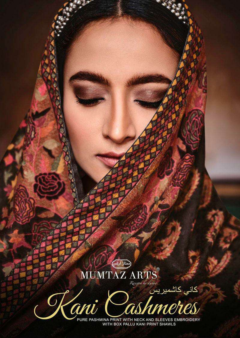 MUMTAZ ARTS KANI CASHMERE DESIGNER PASHMINA PRINT WITH NECK AND SLEEVES EMBROIDERY WORK WINTER WEAR SUITS WHOLESALE