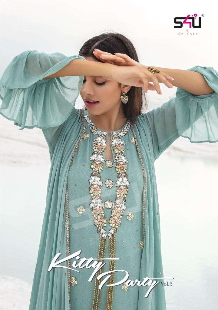 S4U KITTY PARTY VOL 3 DESIGNER GEORGETTE OR CHINON WITH EXCLUSIVE WORK PARTYWEAR OUTFIT WHOLESALE