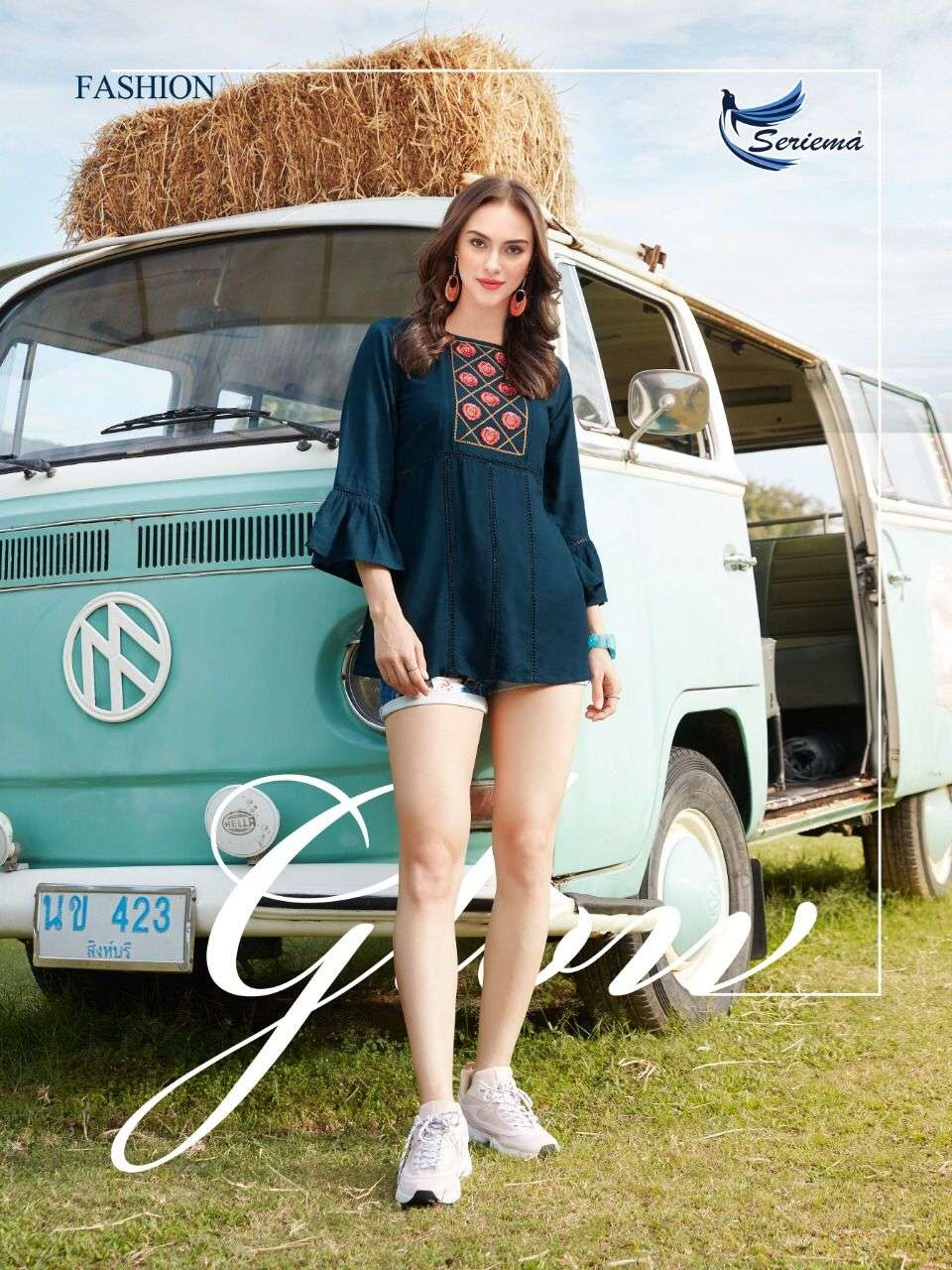 SERIEMA GLAZIER NX HIT RAYON WITH EMBROIDERY WORK SHORT WESTERN TOPS WHOLESALE