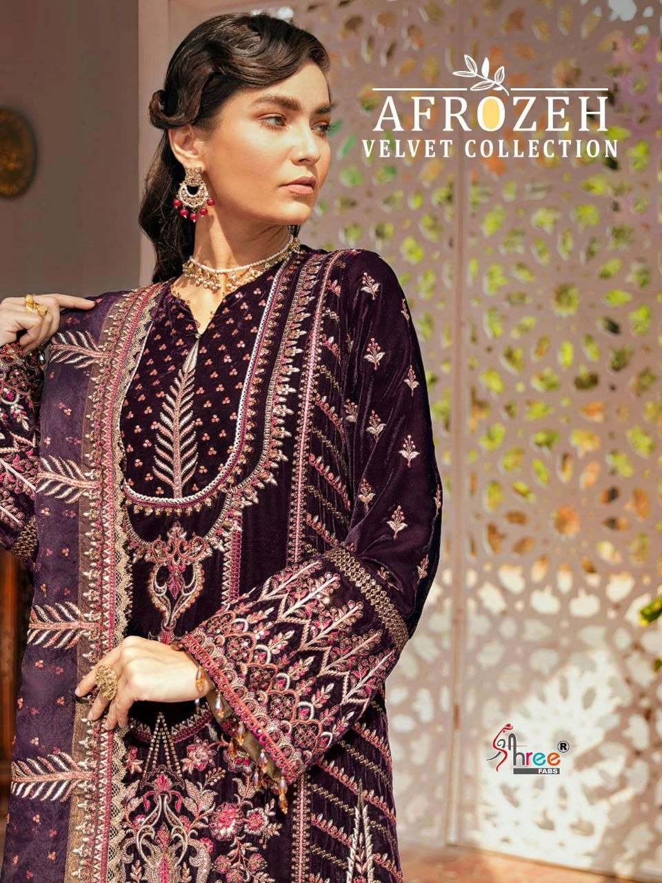 SHREE FAB AFROZEH DESIGNER VELVET WITH EMBROIDERY WORK PARTYWEAR PAKISTANI REPLICA SUITS WHOLESALE