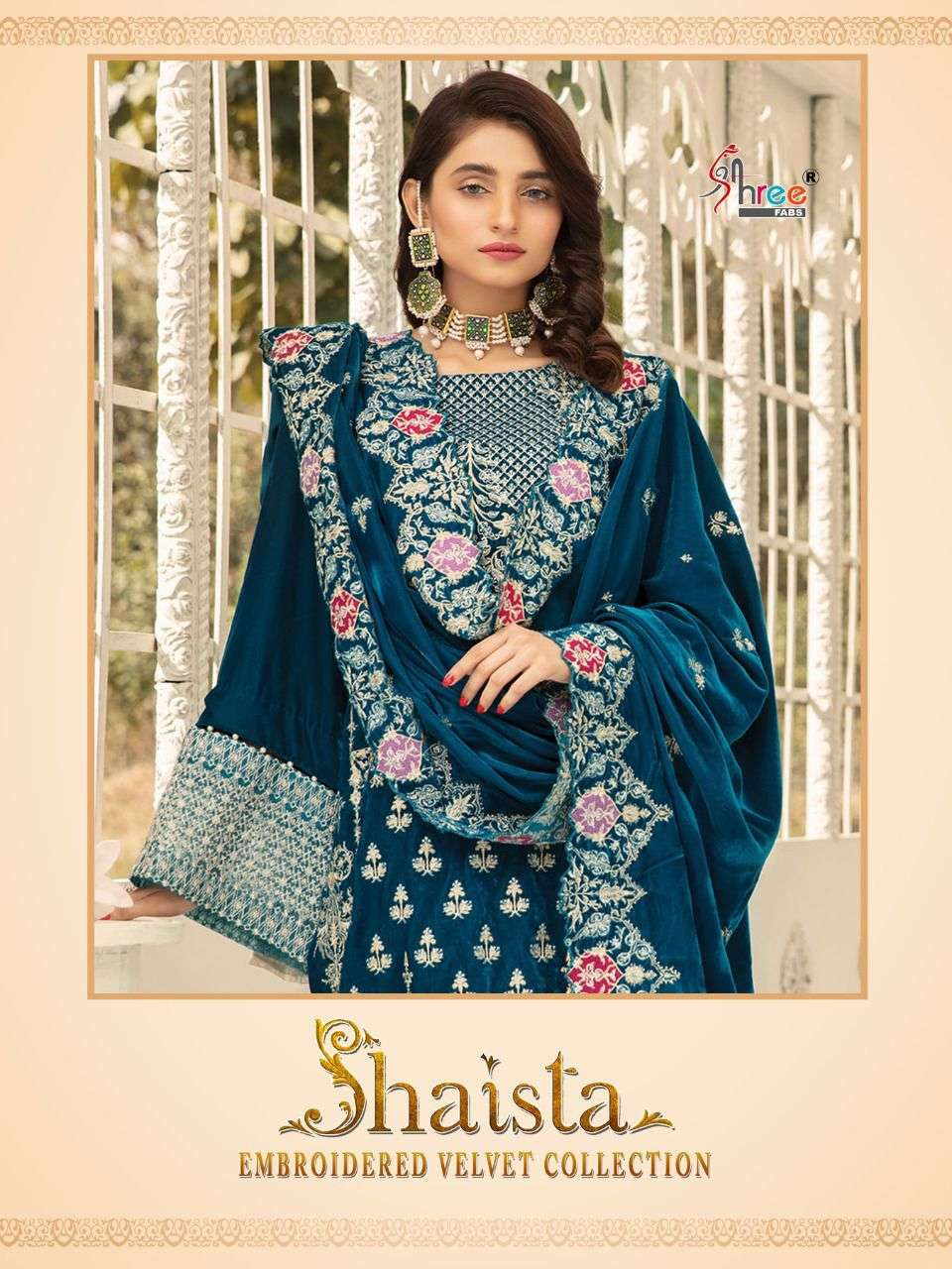 SHREE FAB SHAISTA EMBROIDERED VELVET COLLECTION DESIGNER VELVET WITH EMBROIDERY WORK PAKISTANI PATTERN SUITS WHOLESALE