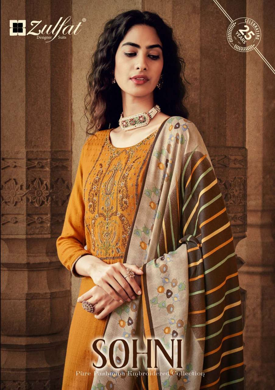 ZULFAT DESIGNER SOHNI DESIGNER PASHMINA PRINT WITH EMBROIDERY WORK PARTYWEAR SUITS WHOLESALE
