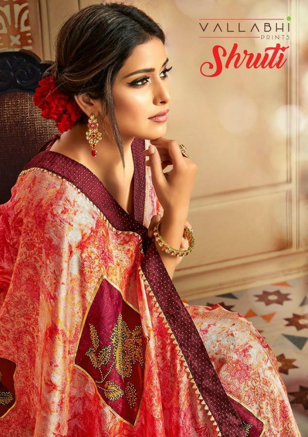 Vallabhi Shruti Designer Chiffon Digital Printed Fancy Saree Wholesale