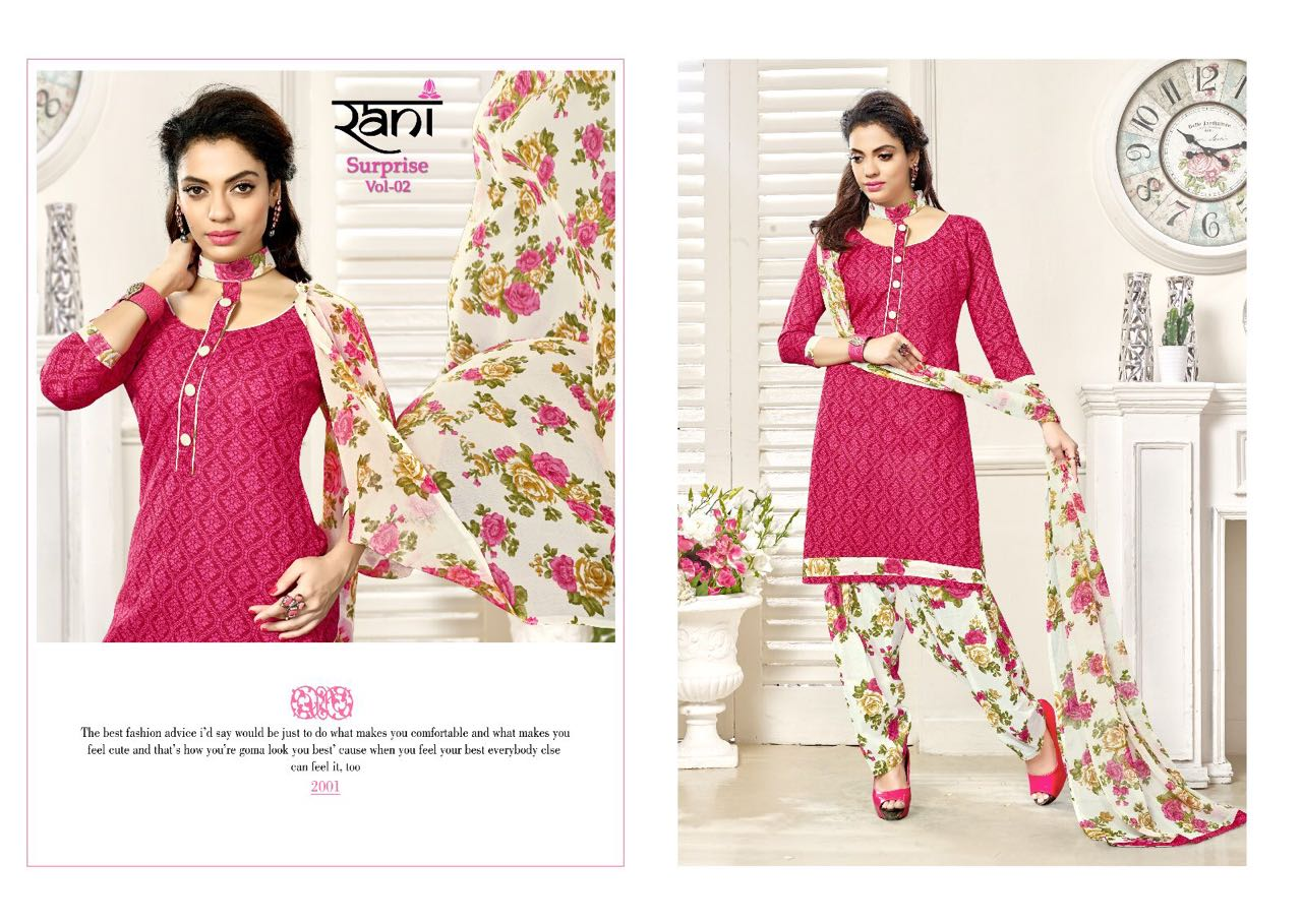 Rani Fashion New Catlog - Surprise Vol-2 Top:- Semi Lawn Cotton Print 2.40mtr.  Bottom:-semi Lawn Cotton Print 2.50mtr Duppta :-ciffon Print 2.25mtr Rate 299/- Per Piece