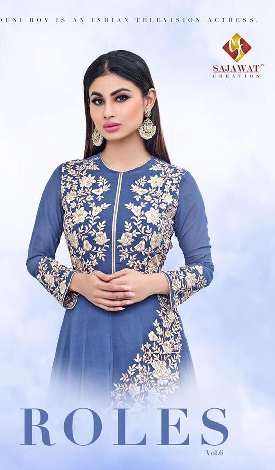 Sajawat Roles Series  Catalogue Name:- Roles Vol 6  Heavy Embroidery Work And Beautiful Flowers Work  Top. - Semi Georgette Bottom&inner- Heavy Santoon Dupatta -heavy Nazmeen  Average Price :- 1295
