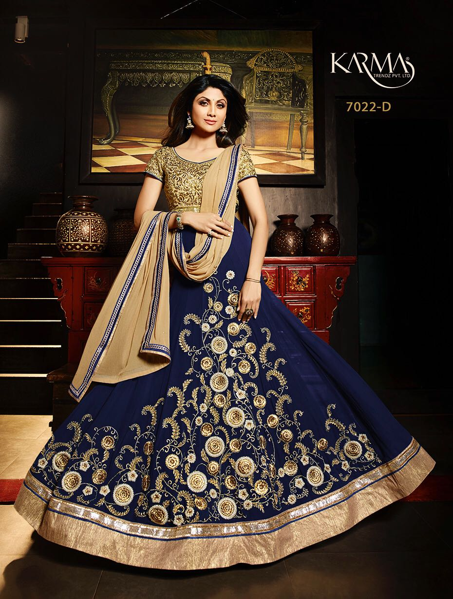 Karma Trendz Shilpa Shetty  Superhit Design In Colours 7022 Number 4 Exclusive Colours Georgette Anarkali With Pure Dupatta Stone Work  @ 3510/-