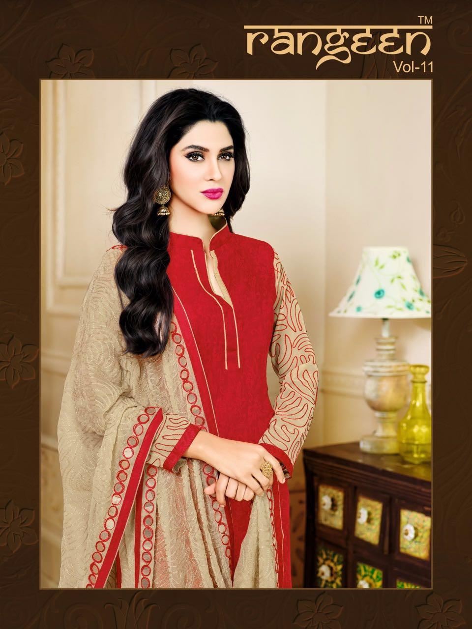 Kapil Trendz...  Rangeen 11 Top :-cotton Satin Jacquard With Sleeves Work Dupatta  Nazmin Work Bottom Cotton Rate 621/- 12 Pcs Set