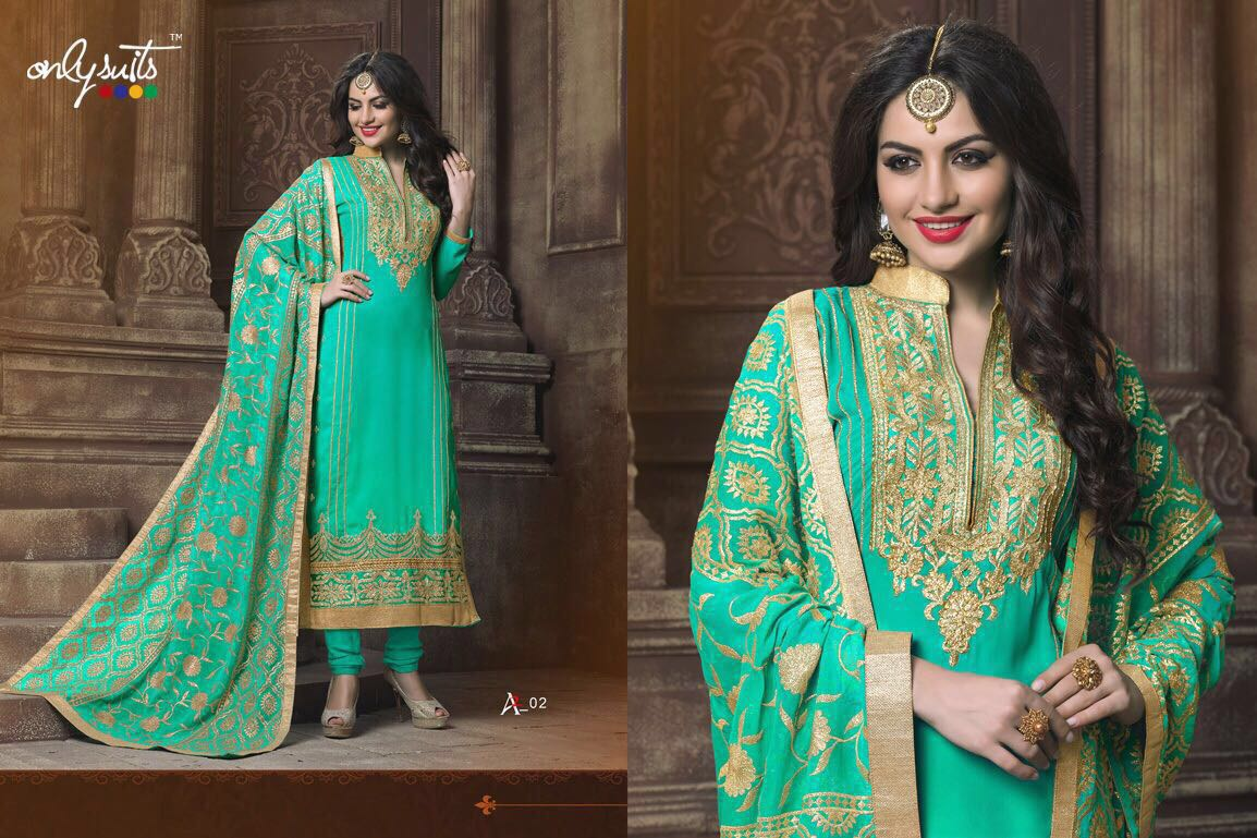 Only Suits Presents A2 Catalog Top: Georgette With Embroidery And Handwork With Santoon Inner  Bottom: Santoon Dupatta: Chiffon Dupatta With Embroidery Work And Lace Border 7 Designs Sets, Rate - 1395/-