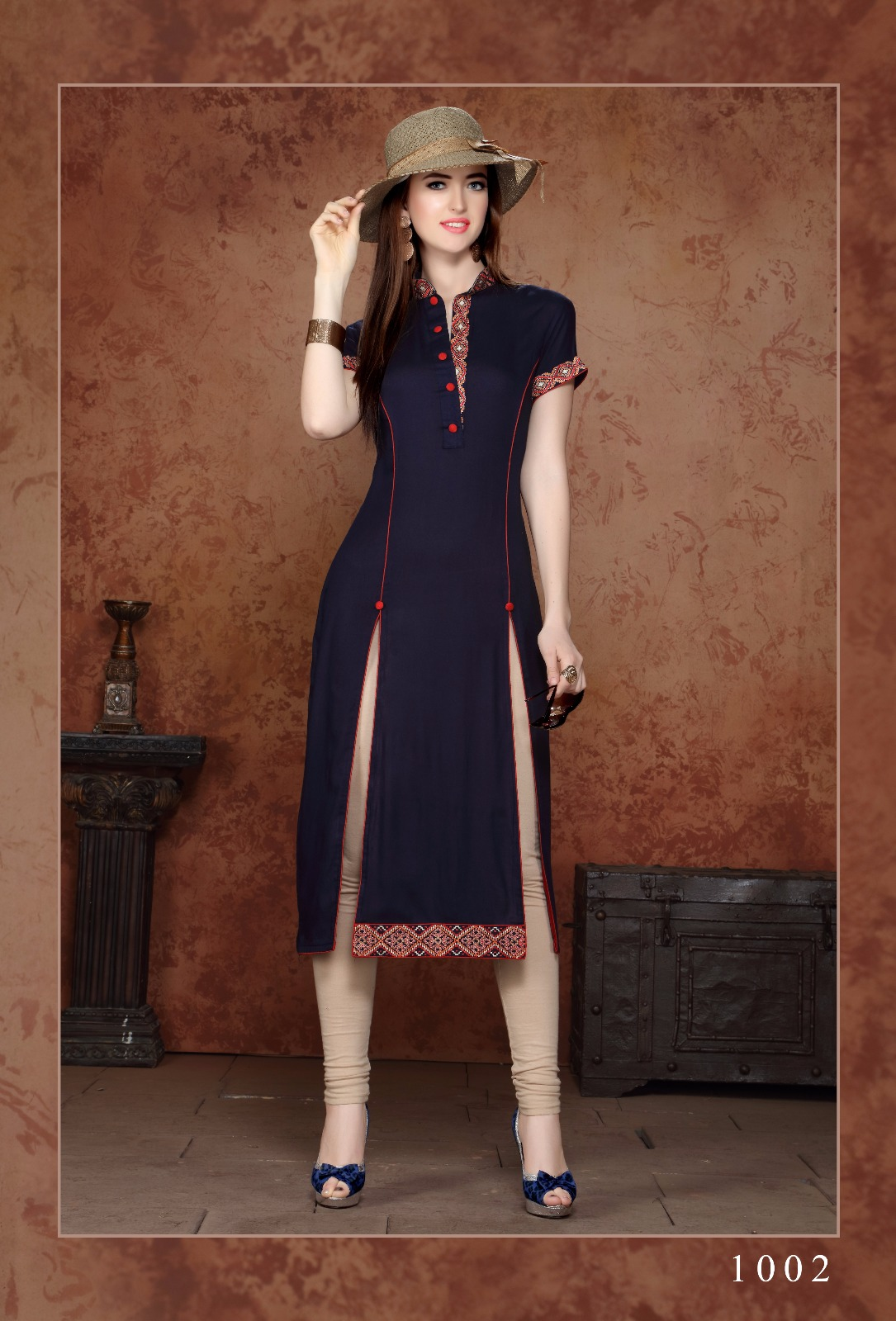Glorious Rayon Kurtis With Embroidery Work 8 Pcs Sets, Rate - 595/-