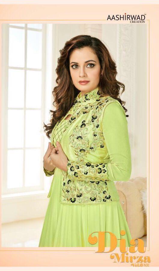 Aashirwad Creation Present New Catalog Dia Mirza Vol-6 Nx Fabric Details Top: Heavy Georgette Inner N Bottom: Spun Cotton Dupatta: Narzling Designs: 3 Rate: 1795 Each