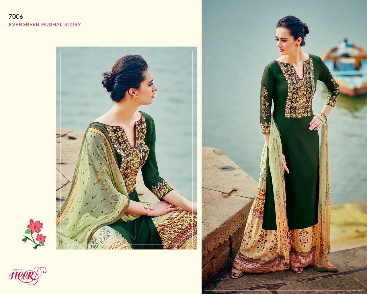 Kimora Heer 21 7005 7006 7007 7009 Cotton Satin With Embroidery Rate:-1595/-