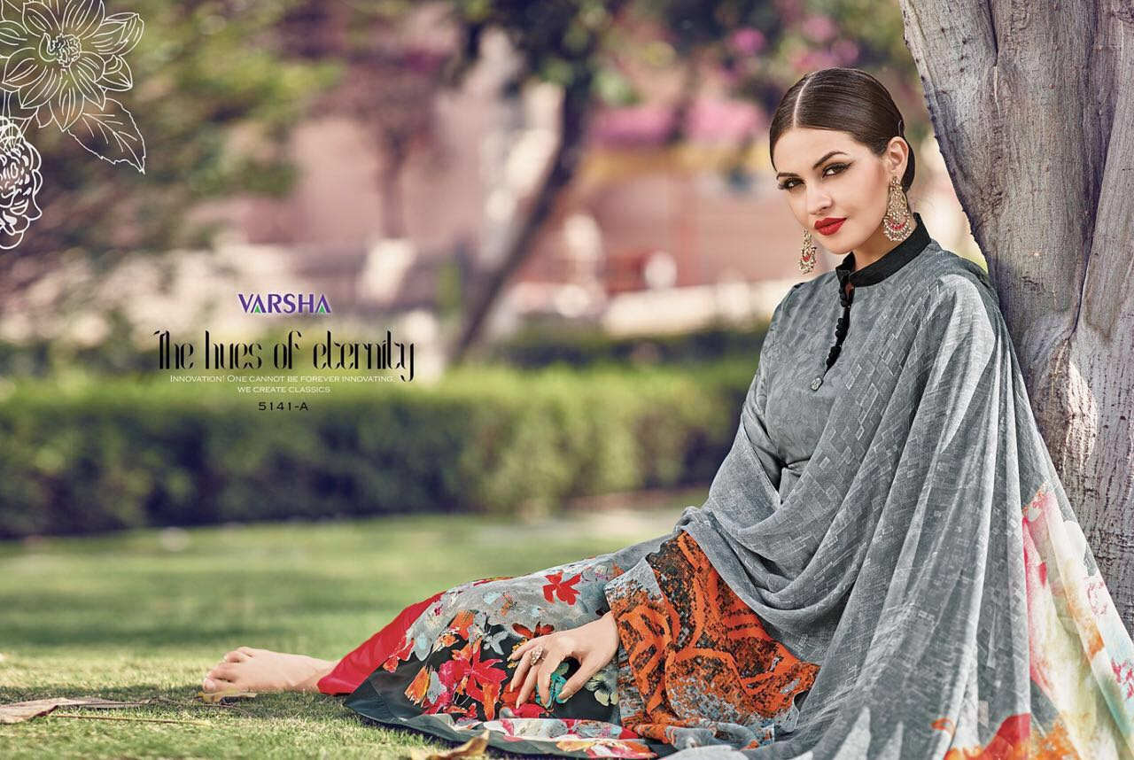 Queens-4  Varshaa Fashions Crepe Printed Unstitched Suits Rate: 675/-
