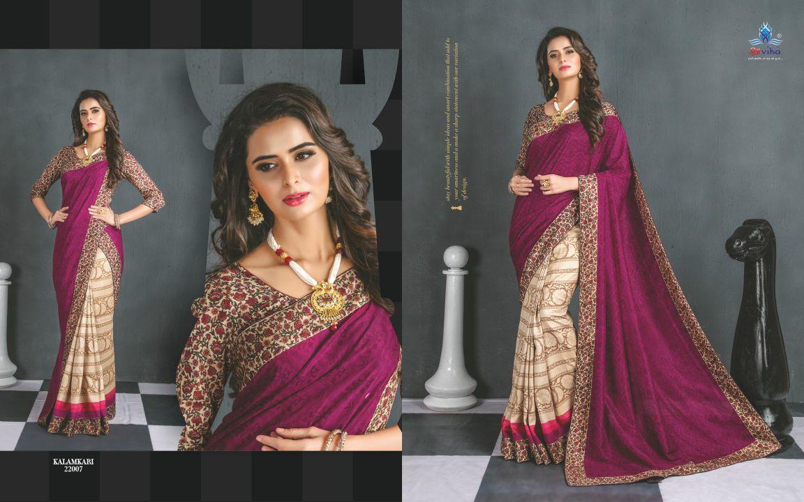 Shravika Kalamkari Silk Fabrics With Printed Lace Concept Rate: 695/-
