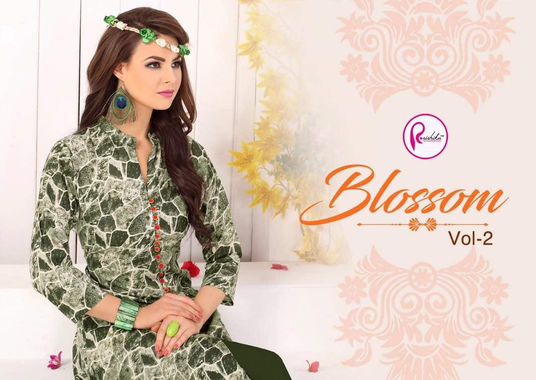 Rishika Blossom 2 Presented Rayon Designer Printed Kurties Rate 450/-