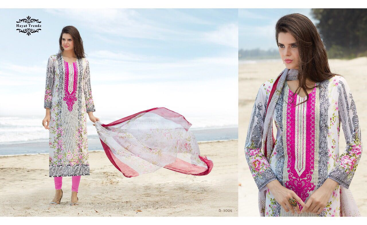Hayat Trendz Mayra Presents Lawn Cotton With Embridery Rate 950/-